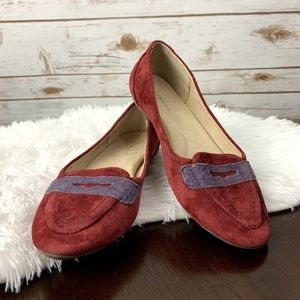 Bass suede moccasins loafers shoes size 7M red